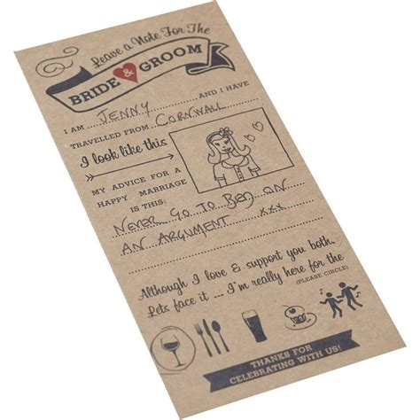 Wedding Day Advice by Vintage Affair Wedding Advice Cards 10 Pack