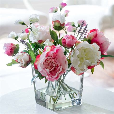 Flowers With Vase Free Delivery by Silk Peony Mix Flyingflowers Co Uk