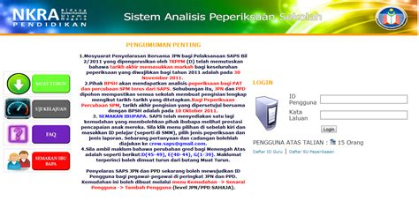 sistem analisis peperiksaan sekolah saps online blog pengetua smt jasin semak keputusan peperiksaan