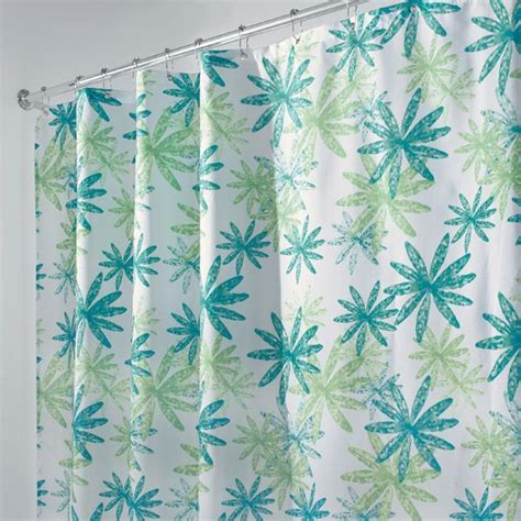 Blue And Green Shower Curtains 108 Quot Wide Ada Blue And Green Floral Fabric Shower Curtain By Interdesign