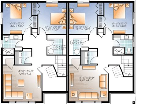 two family floor plans sleek modern multi family house plan 22330dr