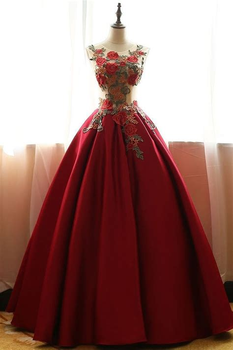 wine red wedding gown quinceanera pageant ball gown