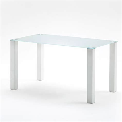 140cm rectangular frosted glass top dining table only