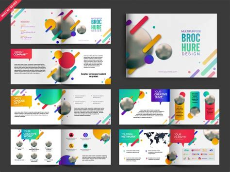 multi page booklet template multipage brochure leaflet design pack with colorful
