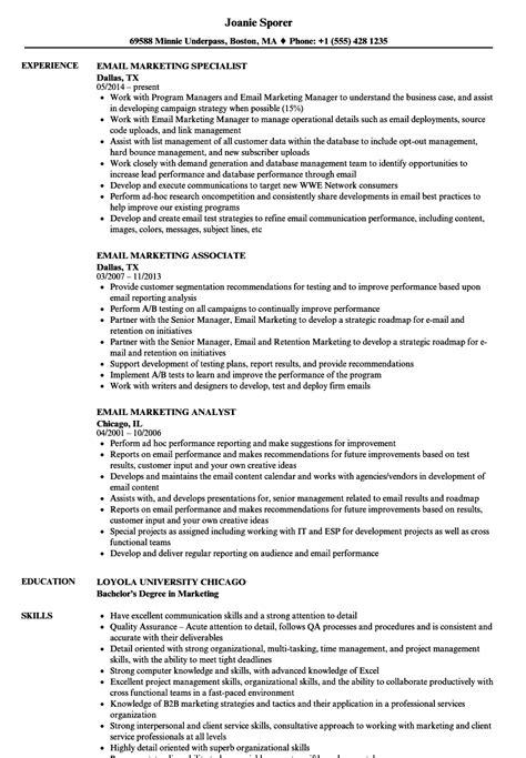 email marketing resume sles velvet