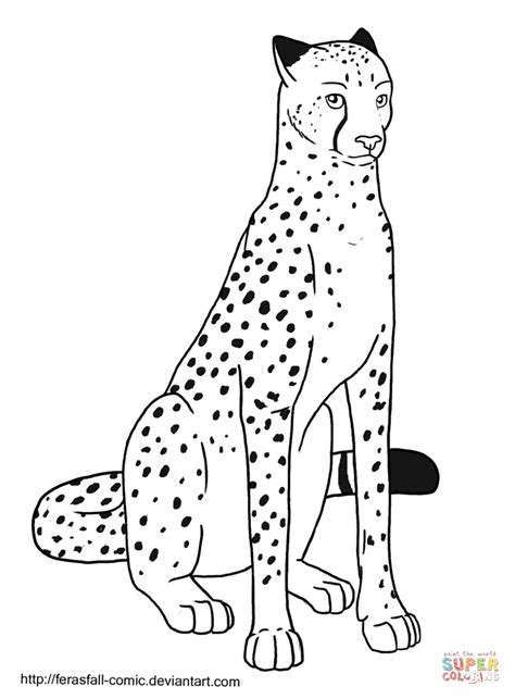 sitting cheetah coloring page  printable coloring pages