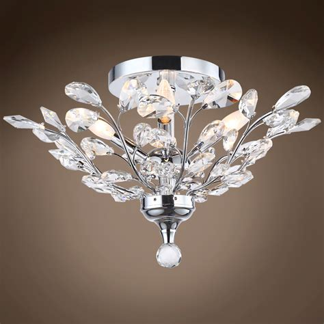 chrome flush mount ceiling light 4 light crystal ceiling flush mount light in chrome finish
