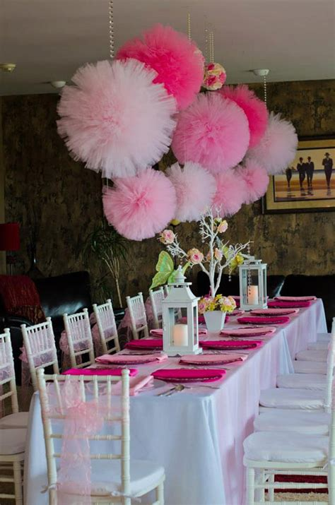 Decorating Ideas Tulle Tulle Pom Poms Pink Birthday
