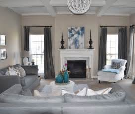 grey family room ideas calm grey theme with big loveseat beside white cane work