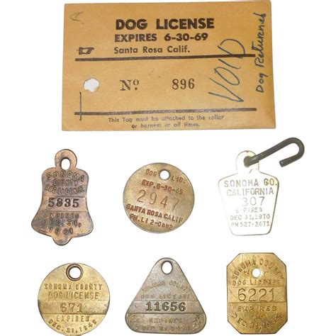 license tag of 7 vintage license tags from