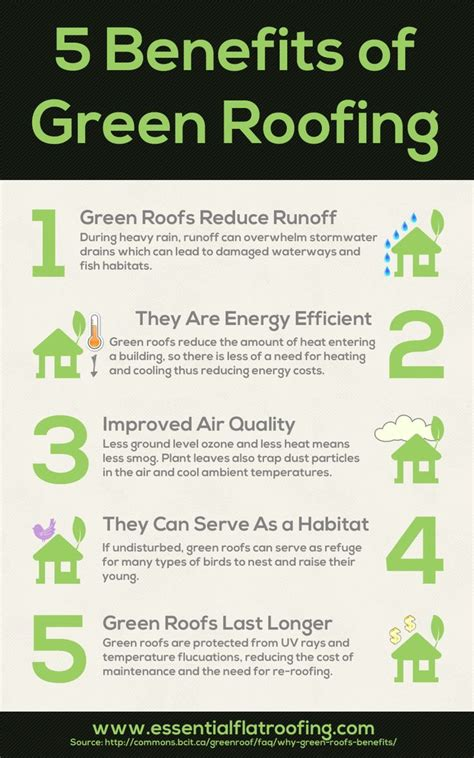 living green roof advantages 5 green roofing benefits infographic infographs