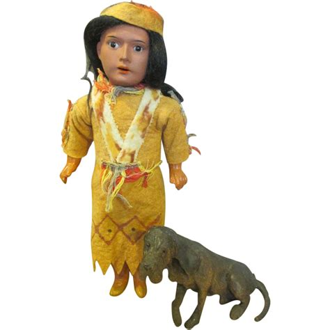 bisque indian doll antique bisque indian doll with his hound from