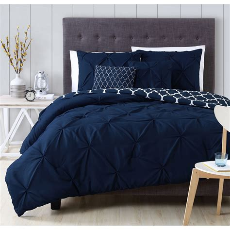 A Beautiful Pintuck Design Adorns A Charcoal White Blue Navy Blue Bedding Sets