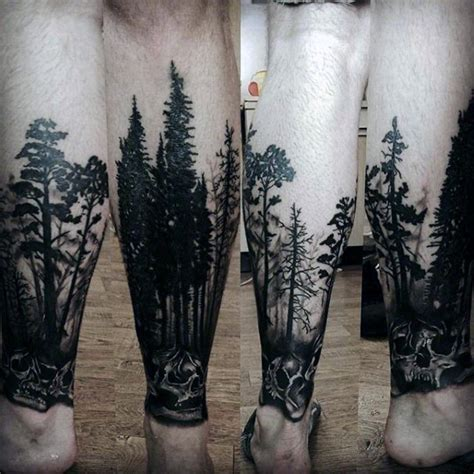 terrific forest tattoos on leg for men picsmine