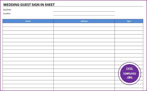 Wedding Guest Sign In Sheet Template   Excel Templates