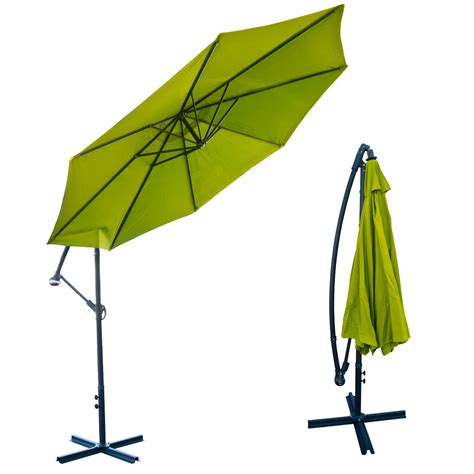 Green Patio Umbrella 10 Offset Lime Green Umbrella Patio Crank Up Tilt Cantilever Shade Stand