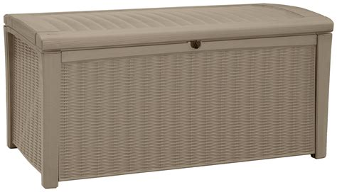 keter brown storage bench keter borneo rattan effect brown storage bench 400l