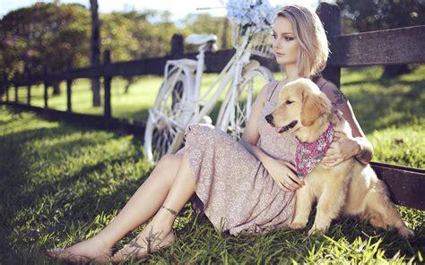 Wallpaper Girl Dog | girl chilling with her puppy hd desktop wallpaper