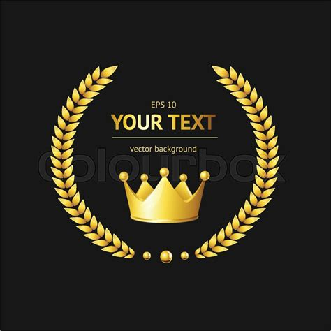 gold crown logo template on a black background stock