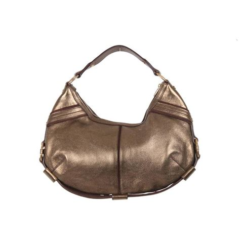 Sissi Oval Shoulder Hobo by Yves Laurent Rive Gauche Gold Tone Metallic Leather