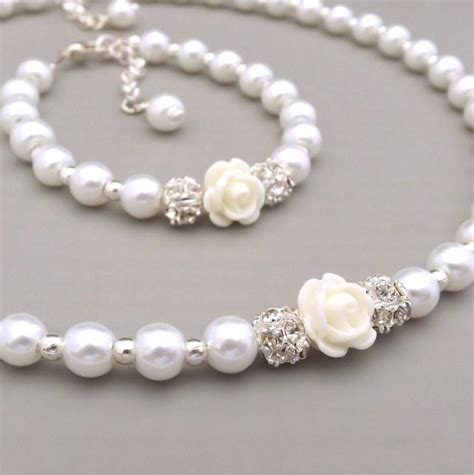 childrens pearl necklace and bracelet set flower set