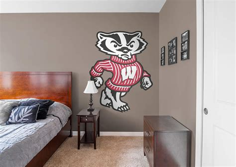 bucky badger illustrated wisconsin badgers mascot wall