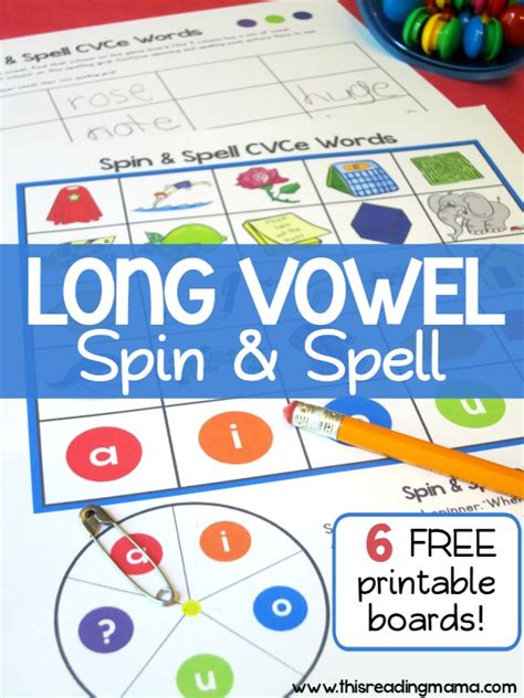 printable board games for spelling long vowel spelling game cvce words spin and spell