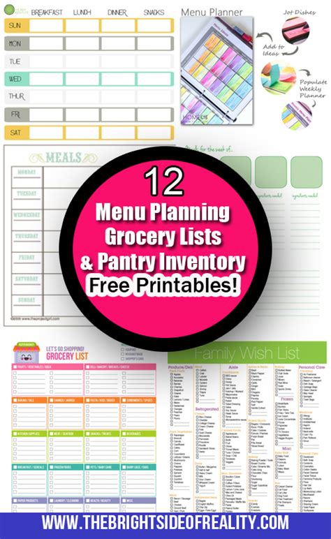 free printable menu planner shopping list inventory sheets 12 free menu planning printables grocery lists and
