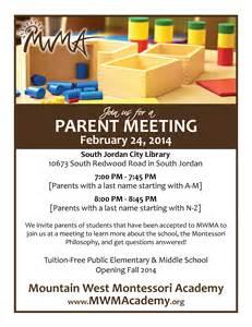 parent flyer templates parent meeting mountain west montessori academy