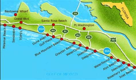 map florida panhandle beaches 30a florida rentals florida rentals on scenic 30a
