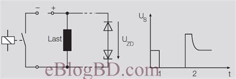 relay diode protection relay contact protection circuit against transient voltage