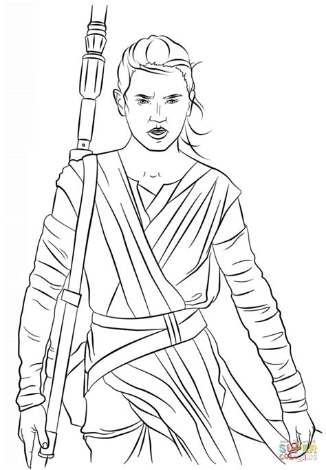 coloring pictures of rey from star wars rey from the force awakens coloring page free printable
