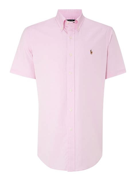 Blouse Qorry Polo Pink lyst polo ralph classic sleeve custom fit oxford shirt in pink for
