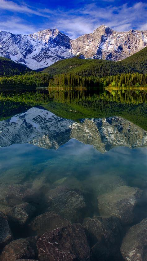 desktop themes reflections mountain landscape reflection mountains lake rocks iphone