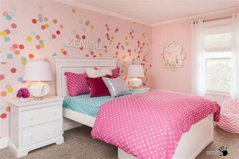 Girls Bedroom Paint Colors pretty pink wall with colorful circles decals and lovely