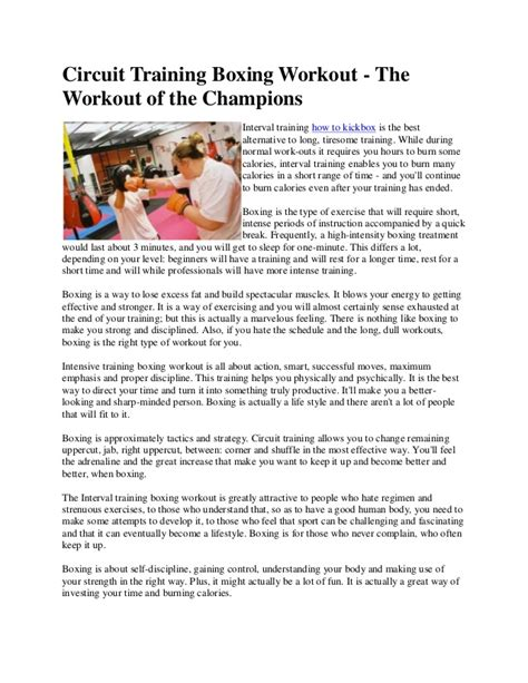 circuit boxing workout the workout of the chions