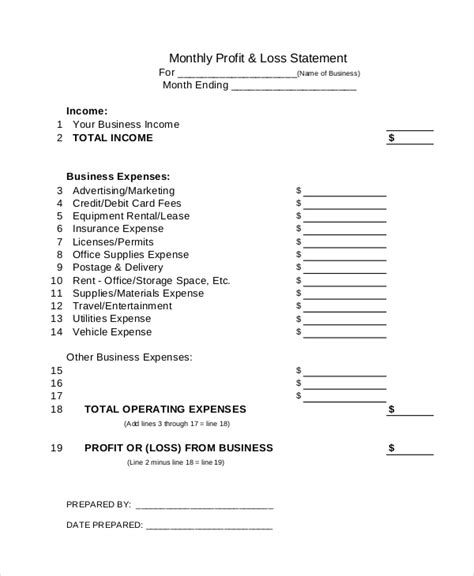 sle profit and loss statement 12 documents in pdf excel