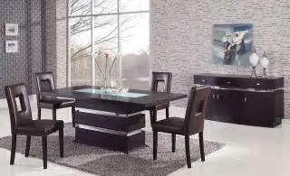 Modern Furniture Dining Room Set Sophisticated Rectangular Wood And Frosted Glass Top Leather Modern Dining Set Contemporary