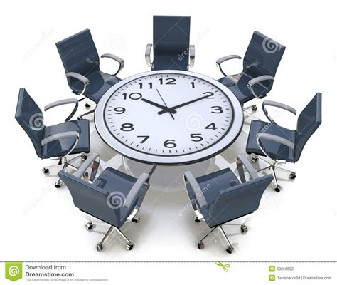 time with a meeting time table with a large clock stock illustration illustration