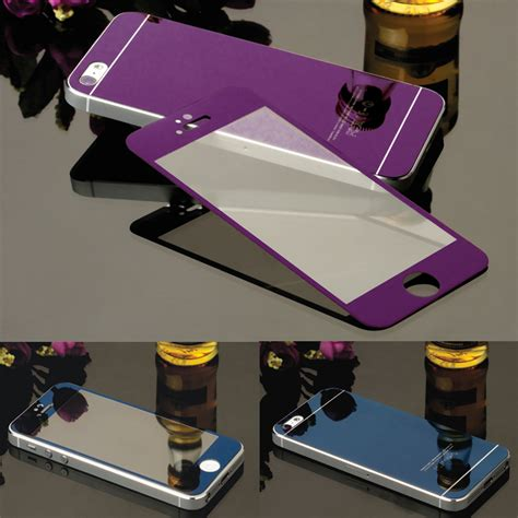 Colorful Mirror Tempered Glass For Iphone 44s55s66 front back tempered glass mirror effect colorful 3d color screen protector