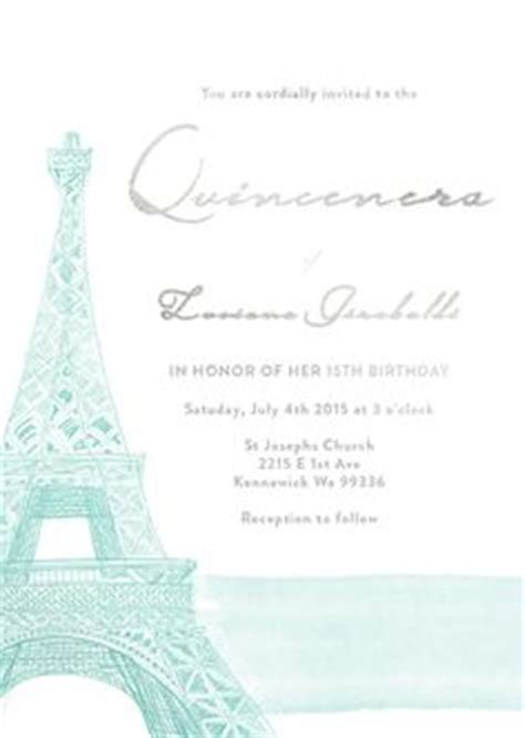 Paris Eiffel Tower Quinceanera Save The Date Or Wedding Invitation Template Or Printed Free Quinceanera Save The Date Templates