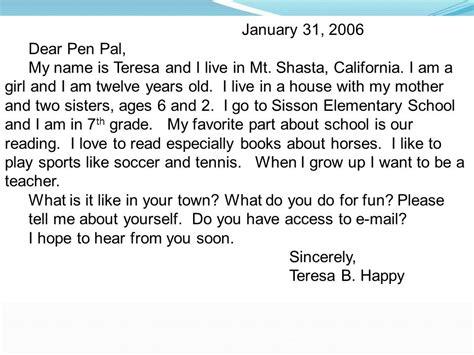 pen pal letter template pen pal letter exle the best letter sle