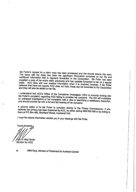 Formal Letter Template Nz Nick Smith Resignation The Second Acc Letter Scoop News