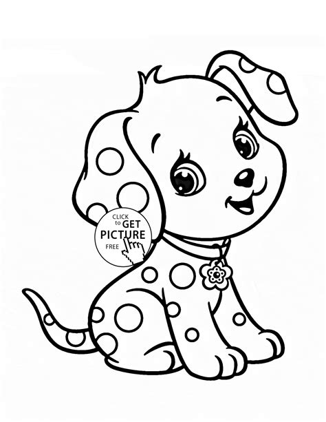 cartoon puppy coloring page for kids animal coloring