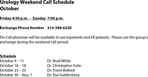 Download On Call Schedule Templates For Free Formtemplate Physician Call Schedule Template