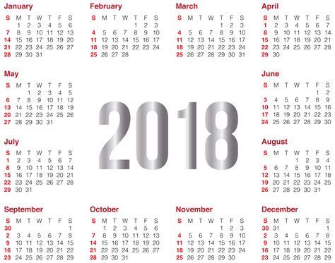 Calendar 2018 Template Png 2018 Transparent Calendar Png Clip Image Gallery