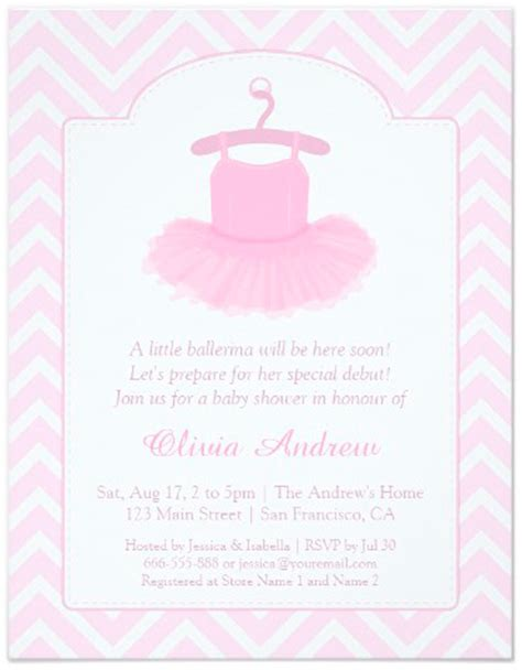 Baby Girl Ballerina Tutu Invitations Party Ideas Ballerina Baby Shower Invitation Templates