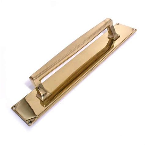 Brass Teardrop Pull Teardrop Small Backplate 2 14 deco pull handle on plate polished brass unlacquered broughtons of leicester ltd
