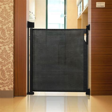 retractable gate safetots advanced retractable mesh baby stair gate black roller safety barrier ebay