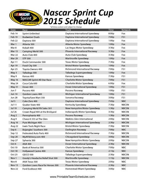 Nascar 2015 Tv Schedule Printable the printable 2015 nascar sprint cup series schedule